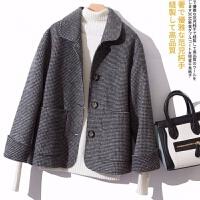 反季双面羊毛大衣女装短款千鸟格韩版毛呢外套秋冬宽松外搭小个子