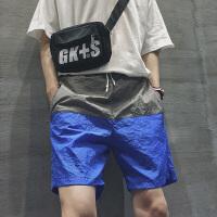 男士休闲短裤夏款社会精神小伙裤子韩版气质拼接速干5五分运动裤