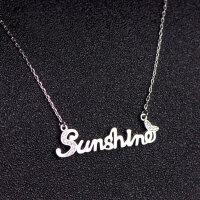 925银银不掉色阳光英文字母sunshine项链女锁骨链18K玫瑰金彩金 纯银款 不掉色防过敏