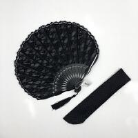复古蕾丝折扇 日式花边折叠贝壳扇女式扇子折扇竹质手工艺扇夏季