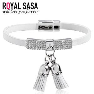 皇家莎莎PU皮手链女士日韩版时尚潮人手饰品皮绳手绳女生手环礼物