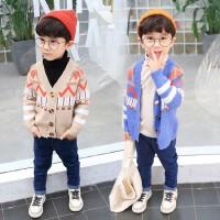 儿童针织衫男童开衫毛衣外套秋季潮装中童V领开衫潮