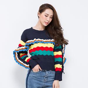 拼接荷叶边兔绒针织衫上衣甜美可爱彩色彩虹毛衣女套头秋冬学生潮