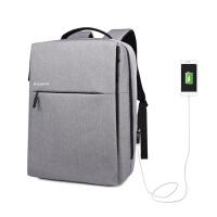 双肩包男士商务公文充电背包寸电脑包简约多功能书包男 灰色 充电升级