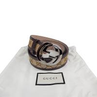 Gucci/古驰 咖色GG印花金属头腰带95码现货 114876