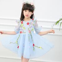 女童夏装连衣裙2018新款3儿童装裙子4岁中大女孩5洋气春装公主裙9 蓝色 花仙子