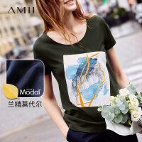 【折后价:58元/再叠300-30元券】Amii极简欧货大版印花短袖T恤女2019夏新款圆领绿色百搭显瘦上衣