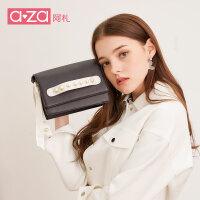 aza小包包2019新款潮韩版女包珍珠丝带撞色迷你斜挎包手拿小方包