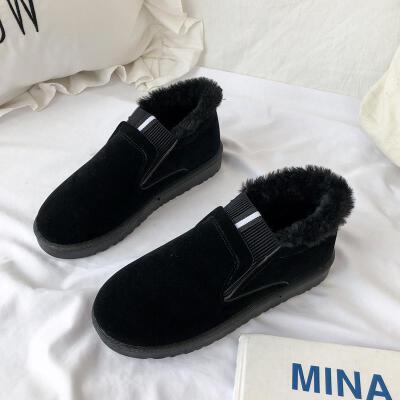 2019秋冬季新款棉鞋女百搭平底防滑短靴子保暖加绒加厚短筒雪地靴