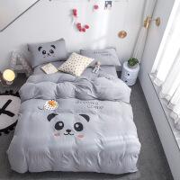 20191108190419610小清新简约水洗棉 四件套卡通裸睡被套单双人学生1.8米床上用品