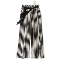 欧洲站新品 黑色条纹显瘦口袋阔腿裤裙裤飘带 休闲裤GH150 黑白条纹裤