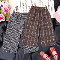 女童裤子秋冬季洋气儿童宝宝呢子阔腿裤宽松