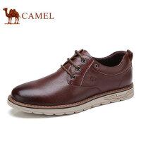 camel 骆驼男鞋新款日常休闲皮鞋男牛皮系带舒适缓震男士皮鞋