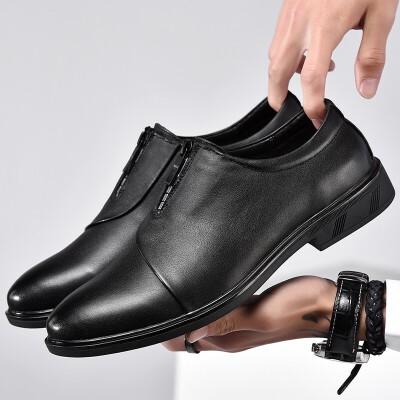 皮鞋男夏季新品商务休闲鞋正装鞋低帮男士增高鞋英伦风绅士鞋中青年帅气潮鞋 黑色