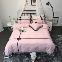 【人气】网红款全棉纯棉床上四件套蕾丝花边公主风少女心床单被套简约纯色