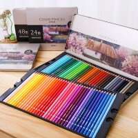 得力48色油性彩色铅笔学生专业素描手绘美术绘画彩铅画笔套装
