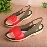 夏季凉鞋女沙滩鞋洞洞鞋塑料凉鞋女夏平跟露趾凉鞋鱼嘴果冻鞋女