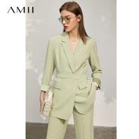 Amii极简设计感小众气质西装2021年春夏新款休闲西服女