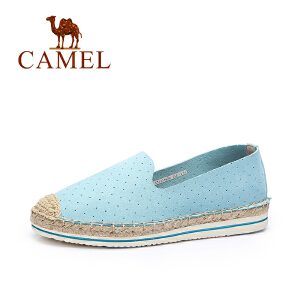 Camel/骆驼女鞋夏季新款甜美透气平底编织渔夫鞋 舒适乐福鞋