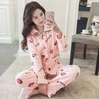 秋冬珊瑚绒睡衣女冬季韩版清新学生甜美可爱加厚法兰绒家居服套装