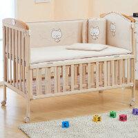 【当当自营】萌宝(Cutebaby)彩棉三明治3D婴儿床围床品6件套 小猫 120*64cm