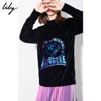 【开学季到手价:189元】 Lily春新款女装字母胶印镂空黑色丝绒直筒套头衫118440C8504