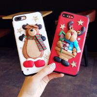 圣诞可爱卡通苹果7手机壳硅胶iphone6s软套7plus潮牌8x个性创意女 6/6s 4.7寸 红色