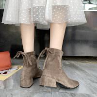 网红短靴女2019秋冬新款百搭中跟粗跟马丁靴短筒踝靴子方头弹力靴