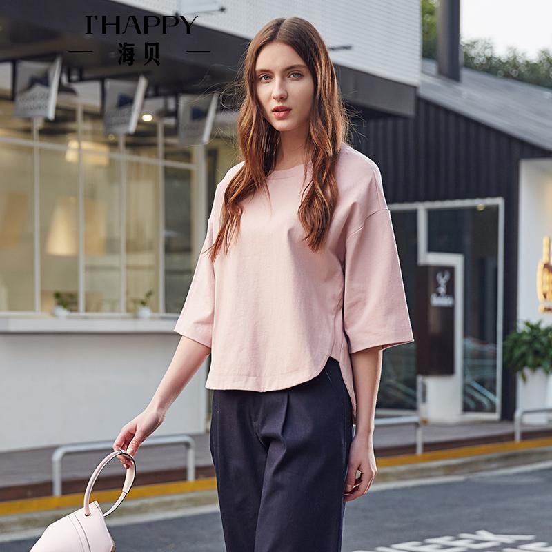 【街拍】海贝2017秋季新款女装 简约全棉纯色前短后长圆领中袖套头T恤