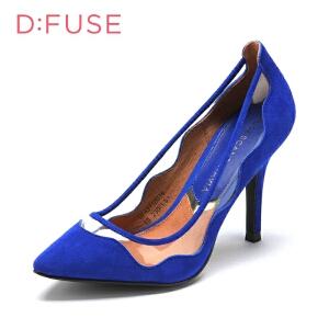 【3折到手价128.7元】迪芙斯D:FUSE反绒尖头超高套脚纯色秋浅口女单鞋DF43110016