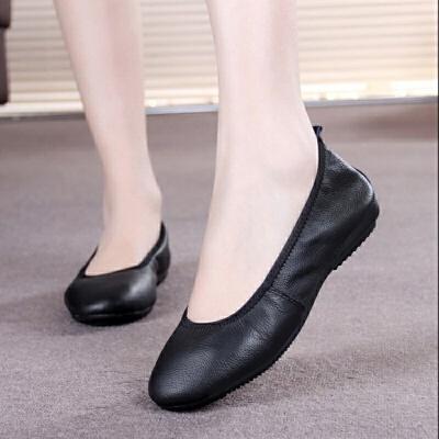 头层牛皮工作鞋女黑色平底单鞋女鞋休闲鞋平跟软底圆头女皮鞋 黑色
