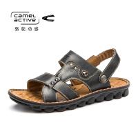 骆驼动感男士凉鞋男潮夏季真皮牛皮韩版休闲鞋男士沙滩鞋