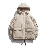 冬季外套女工装2018新款冬装加厚宽松bf连帽韩版学生短款棉衣 米白色 M
