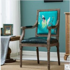 未蓝生活实木欧式软包餐椅复古PU木纹酒店咖啡厅靠背椅橡木 349方背款 图腾 含扶手