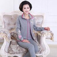 中老年运动套装三件套印花经典卫衣女大码休闲运动服套装