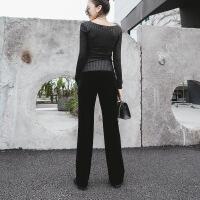 №【2019新款】冬天穿的金丝绒休闲裤垂感显瘦女式小直筒西装正装裤