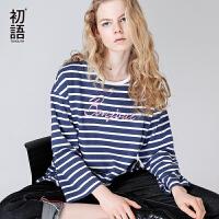 初语夏装新款七分袖条纹中长款开衩字母刺绣短袖T恤女宽松文艺潮
