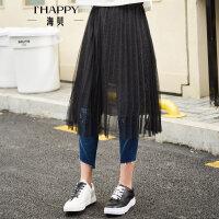 海贝夏季新款女装 黑色高腰性感蕾丝拼接网纱中长款半身裙