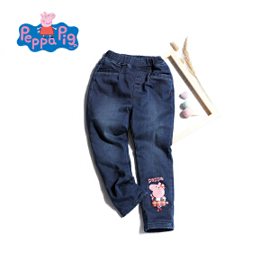 【3件3折到手价:89.7】小猪佩奇童装女童冬季新品夹棉牛仔裤长裤