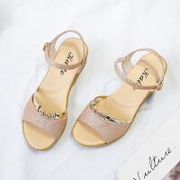 2019夏季新款韩版性感坡跟一字扣凉鞋女百搭仙女搭配裙子穿的鞋子夏季百搭鞋
