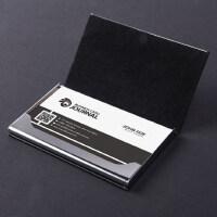 得力名片夹男士商务随身便携名片盒大容量创意个性时尚名片架超薄男式名片收纳盒简约女式明片盒PU皮无锈钢