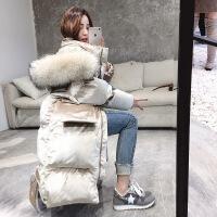 金丝绒棉衣女中长款2018冬季新款棉袄韩版时尚宽松大毛领羽绒 米白色 S