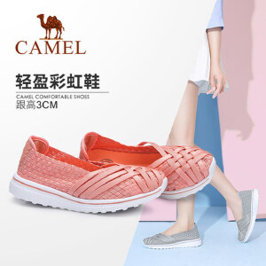 Camel/骆驼女鞋 2018春季新款 轻盈懒人鞋女透气编织鞋休闲鞋