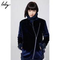 【25折到手价:299.75元】 Lily春新款女装帅气通勤丝绒拼接H型机车外套118430I3504