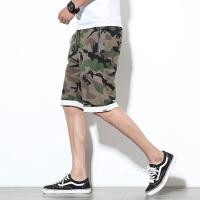夏款迷彩短裤男韩版青年宽松休闲运动裤时尚五分裤条纹裤子