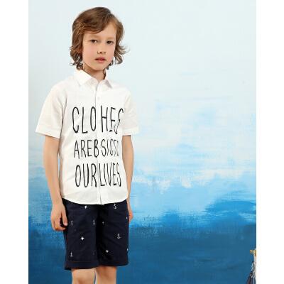 小虎宝儿中大童短袖衬衫男童修身衬衣儿童半袖夏季立领上衣童装新舒适全棉 成衣水洗 字母印花 2色可选