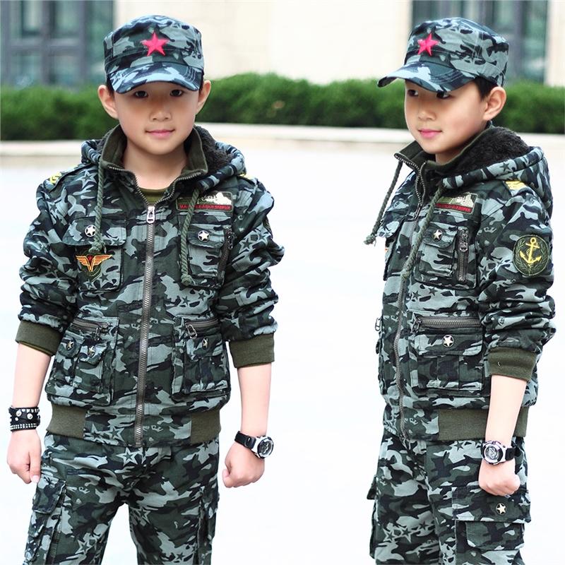 儿童迷彩服套装中大童男童休闲军装运动装