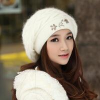 帽子女士秋冬季毛线帽冬天护耳帽保暖双层冬帽潮贝雷帽