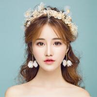 新娘皇冠婚纱超仙礼服配饰发饰结婚礼手工森花环