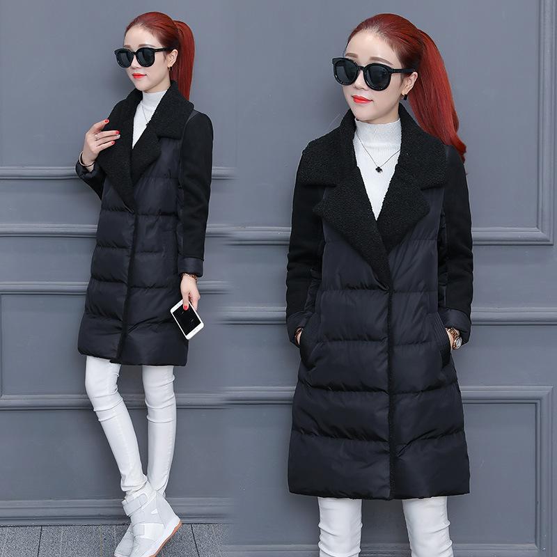 羊羔毛加厚外套女士棉衣2018冬装新款韩版气质时尚中长款棉袄